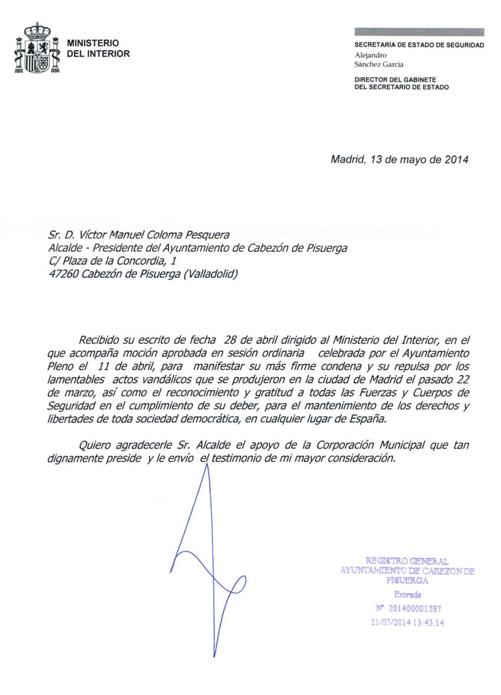 El ministerio de interior agradece al ayuntamiento de for Notificacion ministerio del interior