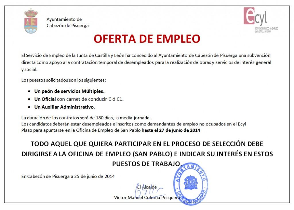 Oferta de empleo varios puestos pe n oficial y auxiliar for Servicio de empleo