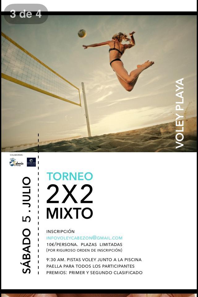 Torneo voley playa 2 2 mixto en cabez n de pisuerga for Oficinas de bankia en valladolid