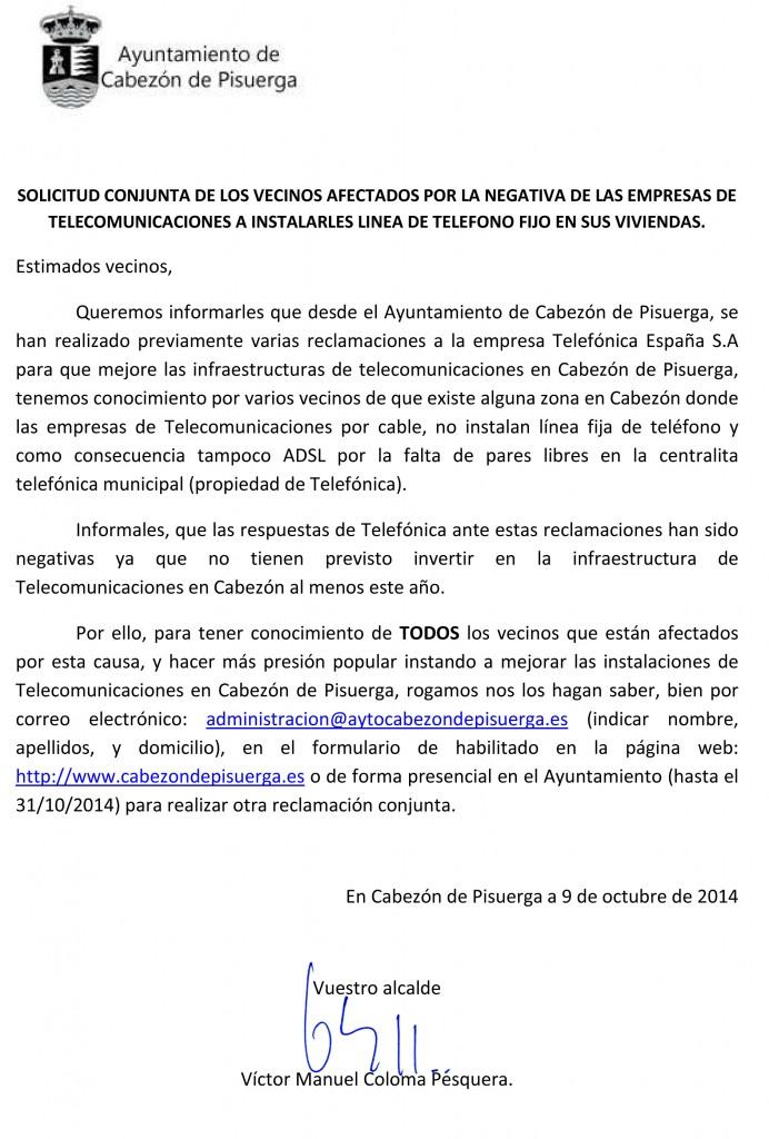SOLICITUD CONJUNTA DE LOS VECINOS AFECTADOS DONDE NO LLEGA ADSL