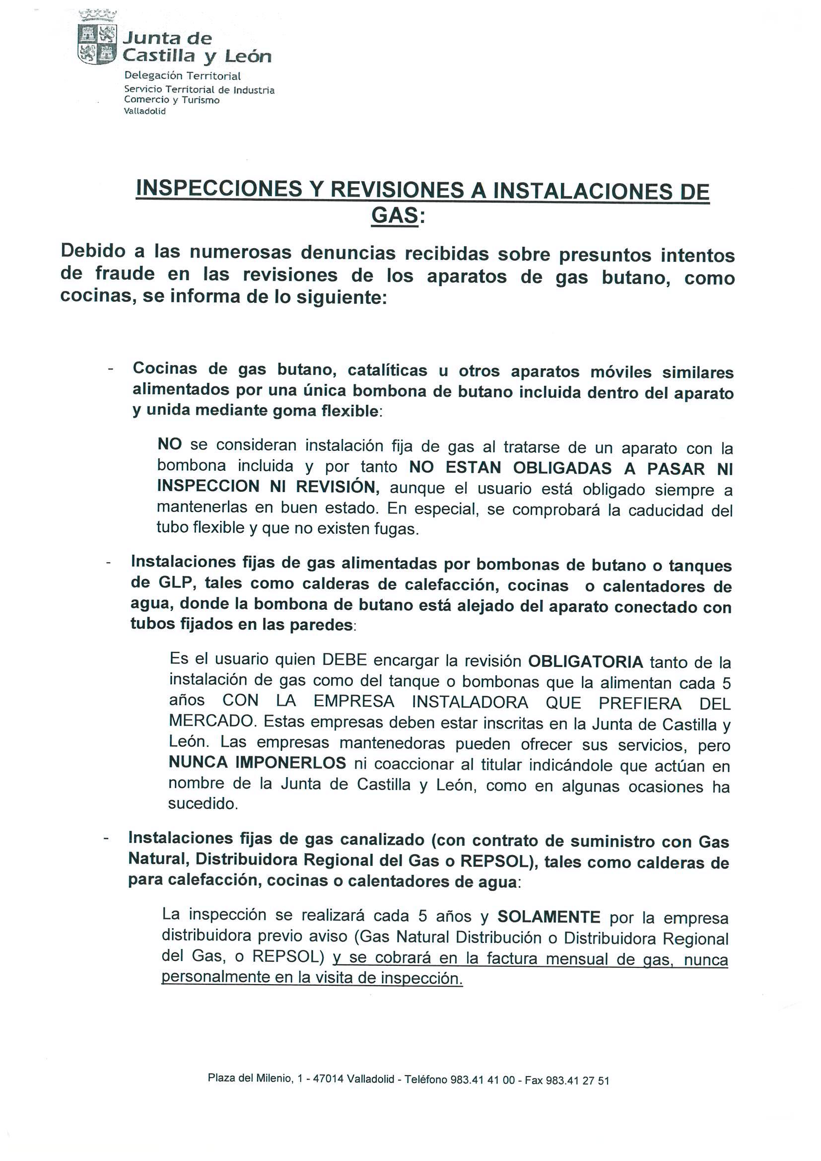 Información sobre las Inspecciones y Revisiones a instalaciones de ...