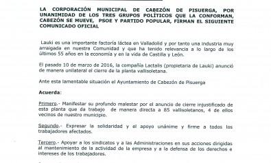 Comunicado oficial del Ayuntamiento de Cabezón de Pisuerga en apoyo a Lauki b004def281c6d