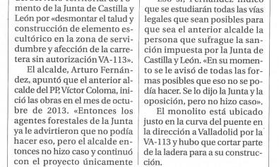 """El Día de Valladolid """" Cabezón paga 1.550€ por la construcción sin  autorización del monolito"""" 7114ee9b9fc50"""