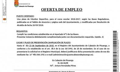 Anuncio Oferta Monitor Deportivo