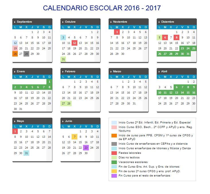 Calendario Escolar 2020 Cyl.Calendario Escolar Curso 2016 2017 En Castilla Y Leon Cabezon De