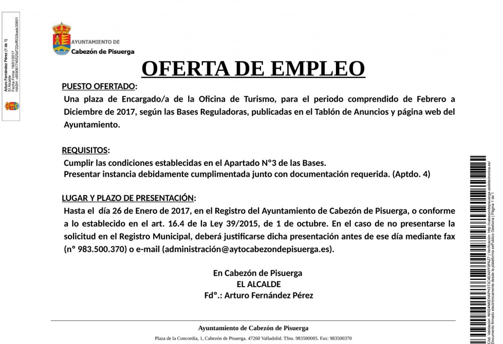 Lista definitiva de candidatos para oferta de empleo una - Oficina electronica de empleo ...