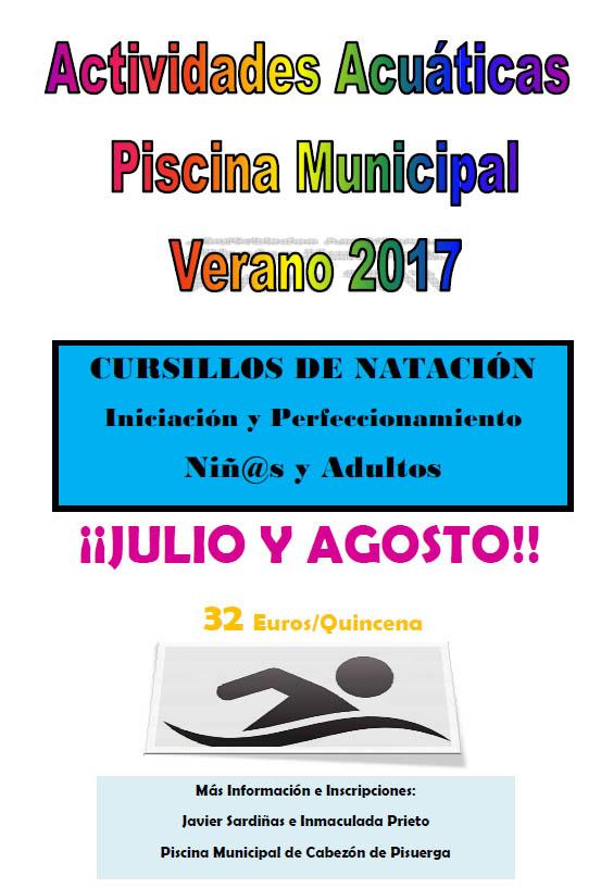 Actividades acuaticas piscina municipal 2017 cabez n de for Piscina municipal fuenlabrada 2017