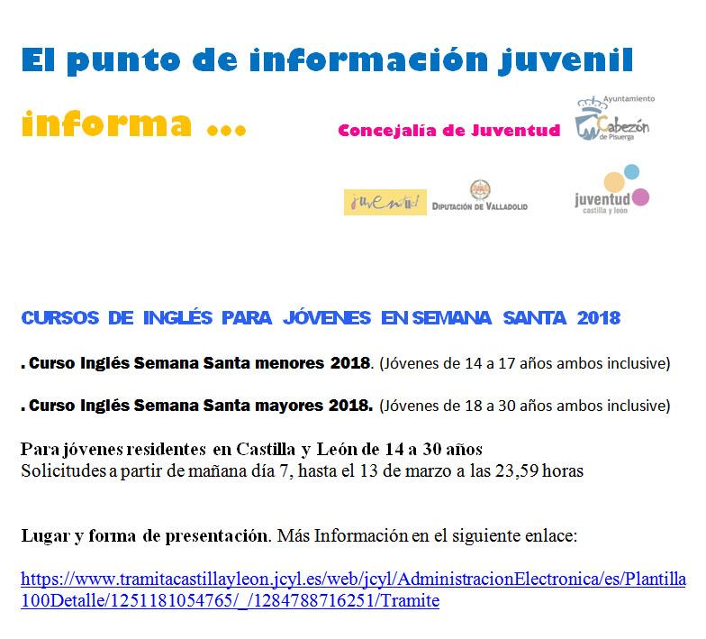 Cursos de Inglés para Jóvenes Semana Santa 2018 | Cabezón de Pisuerga