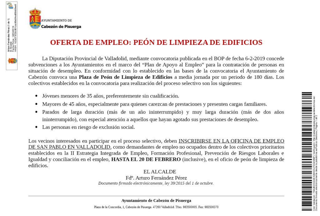 acd903d211fc7 Listado seleccionada para la oferta de empleo un peón de limpieza de  edificios.