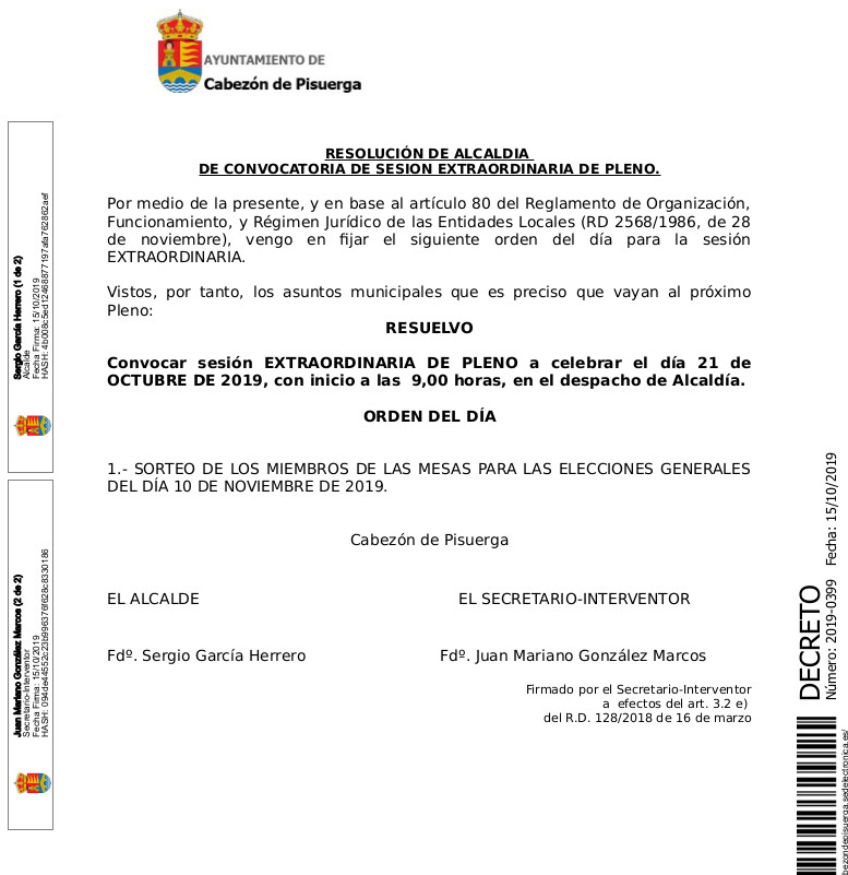 Convocatoria de Pleno extraordinario